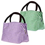 Lunch Bags, Danibos Solid Useful Linen Cotton Stripe 2pc Fashion Lunch Tote Bag Lunch Bag Grocery Bags with Zipper (Green&purple)