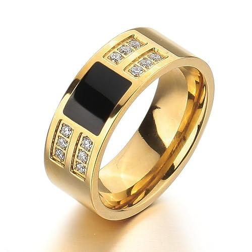 Men-s-Stainless-Steel-Enamel-Ring-Band-CZ-Gold-Black-Classic-Wedding-Charm-Elegant