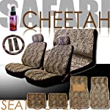 New 14 Pieces Safari Cheetah Print Low Back Front Car Seat Covers, Rear Bench Cover, Seat Belt Covers, Steering Wheel Cover, 4 Pieces Carpet Floor Mats
