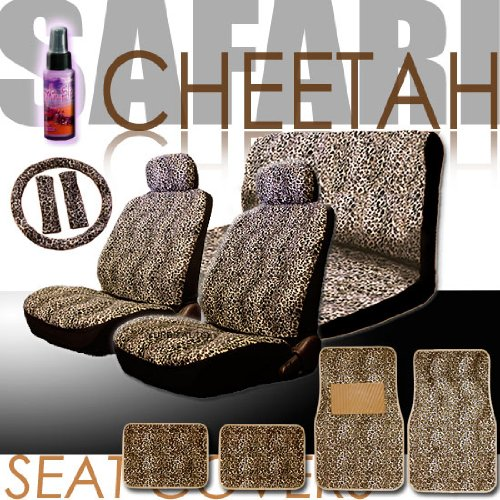 New 16 Pieces Safari Cheetah Print Low Back Front Car Seat Covers, Rear Bench Cover, Seat Belt Covers, Steering Wheel Cover, 4 Pieces Carpet Floor Mats and a 2 oz Purple Slice Car Wash Free Detailer/Multipurpose Cleaner