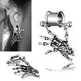 0g Ear Tunnels gLoaSublim,Fashion Unisex Skeleton Hand Pendant Barbell Ear Flesh Tunnel Expander Piercing - 16mm (Color: 16mm)