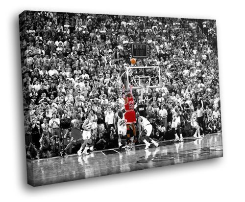 H5D8891 Michael Jordan Jump Shot Utah Jazz NBA 20x16 FRAMED CANVAS PRINT (Framed Michael Jordan Poster compare prices)