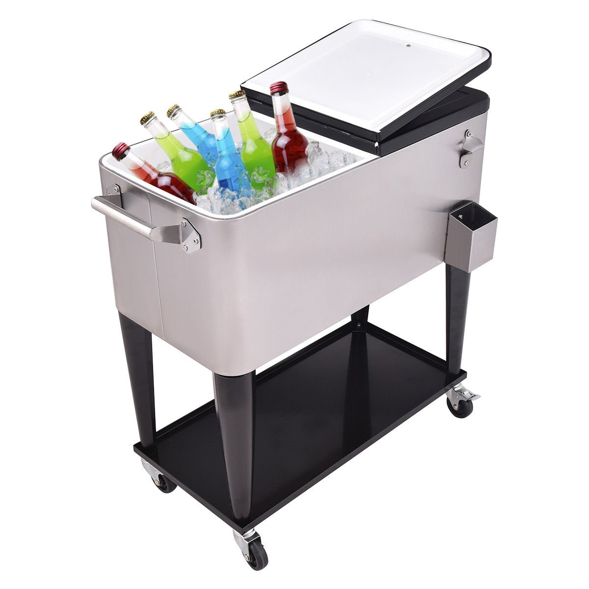 Giantex Patio Cooler Rolling Cart Outdoor Portable Stainless Steel Ice Beverage Chest Pool with Bottle Opener, 80 Quart