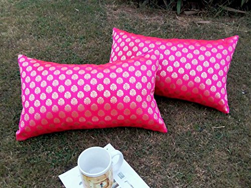 Premium Quality 'HOT PINK & GOLDEN' Brocade LONG Cushion Covers (Set of 2) (12