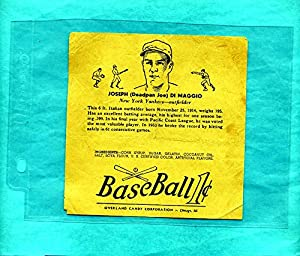 Buy 1938 R301 Overland Candy Baseball Wrapper Joe DiMaggio by Dan's Vintage Cards