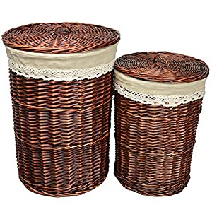 Rurality round wicker laundry basket with lid and linen liner pack of 2 home kitchen - Wicker laundry basket with liner and lid ...