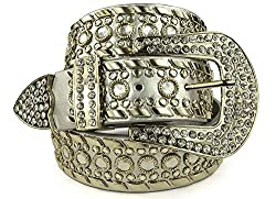 Belle Donne Womens Western Rhinestone Cowgirl Rodeo Horse Studded Bling Belt - Silver/L