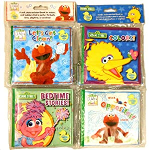 Sesame Street® Bath Time Bubble Books Featuring Let's Get Clean, Opposites, Bedtime Stories and Colors (Set of 4)