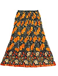 DollsofIndia Saffron Floral Print On Black Cotton Crushed Skirt - Length - 36 Inches - Elastic Waist - 26 To 38...