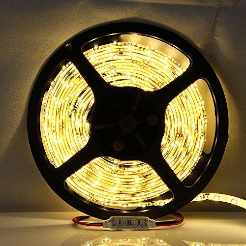 16.4Ft, 5M 300 Leds Waterproof Led Light Strip 3528 Strip Light 12V, Warm White