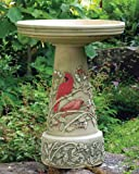 Cardinal Handcrafted Clay Birdbath - Made in the USA