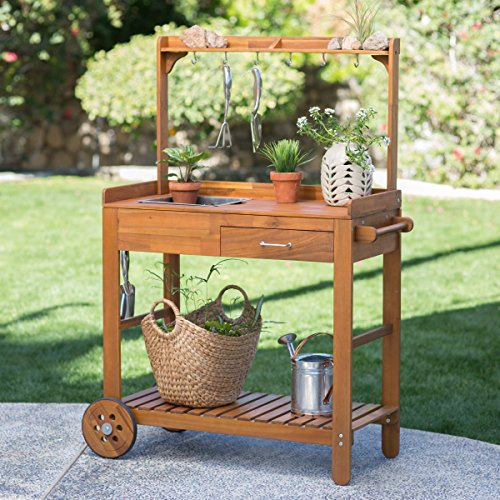 Pull-Out Drawer Harvest Acacia Wood Potting Cart, Constructed from Acacia Wood (Large Crock Pot 20 Quart compare prices)