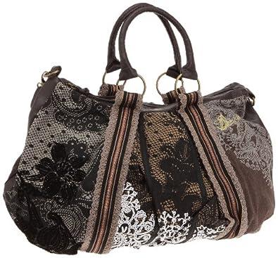 Desigual Women's Handbag Saco Puntilla Marron 28x5057