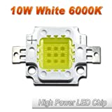 ( 20 Pcs ) Hontiey High Power LED Chip 10W Pure White Light 6000K-6500K Bulbs 10 Watt Beads DIY Spotlights Floodlight COB Integration Lamp SMD (Color: gold, Tamaño: 20 Pcs 10 Watts)