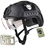 ATAIRSOFT PJ Type Tactical Multifunctional Fast Helmet with Visor Goggles Low Price Version Black + 1 x Multifunction Card (Color: Black, Tamaño: Hat size: 7.25 inch)