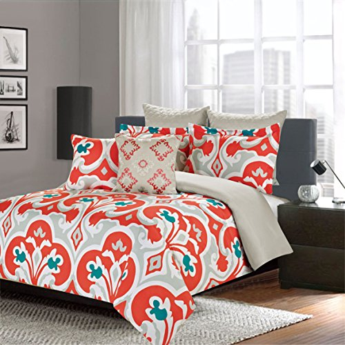 Buy King Comforter 7 Piece Bedding Set, Blue and Orange Printed Damask