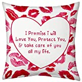 Valentine Gifts for Boyfriend Girlfriend Promising Love Printed Cushion 12X12 Filled Pillow White Making Commitment Gift for Him Her Fiance Spouse
