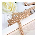 QueenDream Handmade Bridal Champagne Gold Rhinestone Applique Belt for Wedding 10yards (Color: Champagne Gold, Tamaño: 10yard)