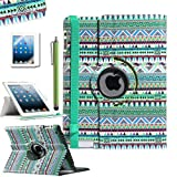 Pandamimi ULAK(TM) Aztec Tribal 360 Degree Rotating Pu Leather Case Cover Stand for Apple New iPad 2 3 4 W/Screem Protector/Touch Stylus(Green)