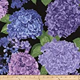 Timeless Treasures Large Hydrangea Toss Black Fabric By The Yard