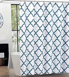 amazon com max studio fabric shower curtain blue silver