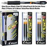 One Dozen 31277 Black Pilot G2 Ultra-fine 0.38mm Gel Ink Pens, Plus 2 Packs 0.38mm Ultra Fine Black Gel Ink Refills