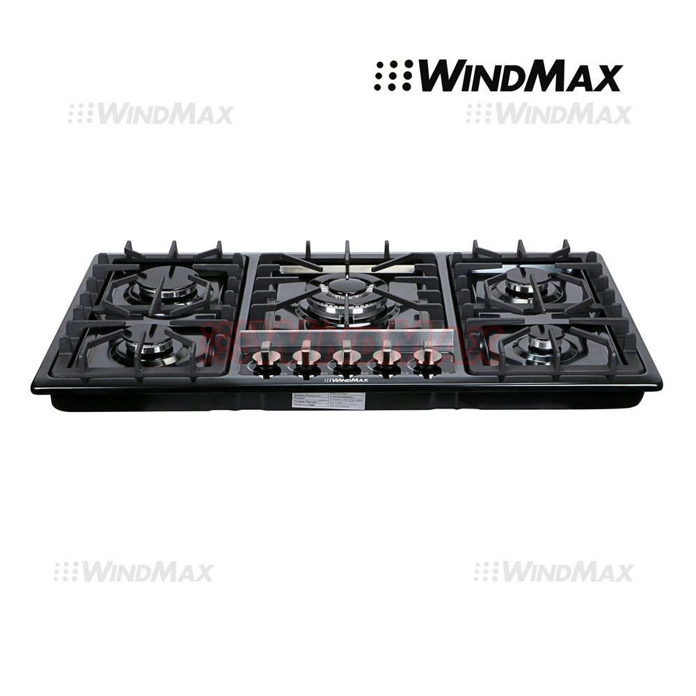 "Ships From CA,USA 34"" Black Titanium Stainless Steel 5 Burner Built-In Stoves Gas Cooktop Cooker"