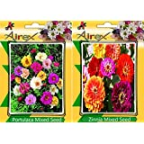 Airex Portulaca Mixed & Zinnia Mixed Flower Seeds ( Pack Of 25 Seeds Per Packet)