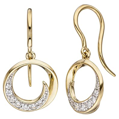 Jobo Earrings 333 Yellow Gold 16 Round Cubic Zirconia Earrings Gold Earrings