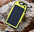 JJF Bird TM Solstar Solar Panel Charger 5000mah Rain-resistant and Dirt/shockproof Dual USB Port Portable Charger Backup External Battery Power Pack for Iphone 5s 5c 5 4s 4, Ipods(apple Adapters Not Included), Samsung Galaxy S5 S4, S3, S2, Note 3, Note 2, Most Kinds of Android Smart Phones,windows Phone and More Other Devices (Yellow)