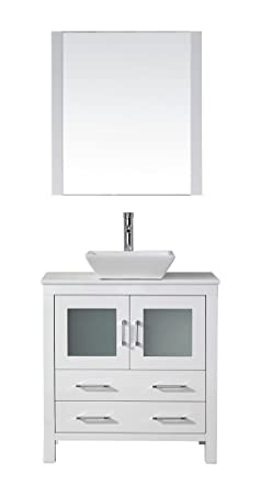 Virtu USA KS-70032-S-WH Modern 32-Inch Single Sink Bathroom Vanity Set with Polished Chrome Faucet, White
