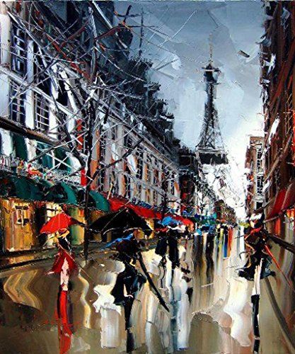 Pairs Street Oil Painting on Canvas(100% Hand-painting),Abstract Eiffel Tower Painting Modern Fashion Girl Home Decoration Art 20x24inch
