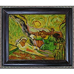 overstockArt Van Gogh The Raising of Lazarus with La Scala Frame Oil Painting, Black and Gold Finish