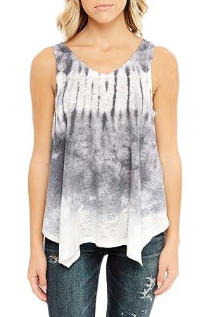 Womens Fashion Tie Dye High Low Loose Handkerchief Tank Tee Top USA GY S