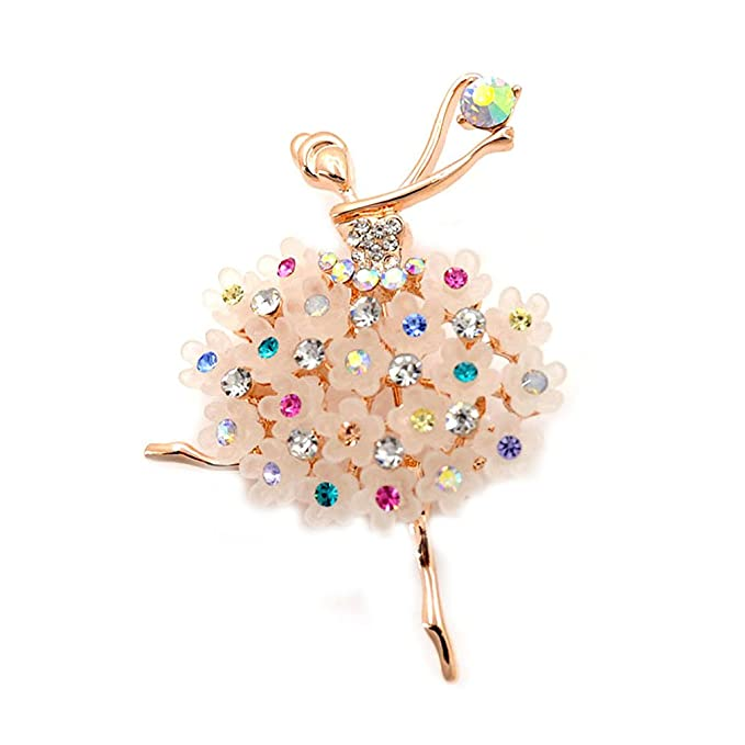 TA Ballet Girl Scarf Pin Brooch with Rainbow Colored Rhinestone Embeded On The Dress