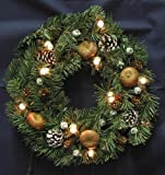 Christmas Pine Wreath with Pinecones, Berrys, Nuts, Snow, & Lights