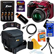 Nikon COOLPIX L820 16 MP CMOS Digital Camera with 30x Zoom Lens & HD Video - Red (Import) + 4 AA Batteries with Charger + 9pc Bundle 16GB Accessory Kit w/ HeroFiber® Ultra Gentle Cleaning Cloth