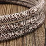 32.8ft Round 18/2 Rayon Covered Wire,HESSION Antique Industrial Electrical Cloth Cord,Vintage Style Lamp Cord strands UL listed(White and Brown)