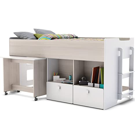 kids shade midsleeper bed with pull out desk