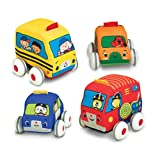"Melissa & Doug Pull-Back Vehicles, Soft Baby and Toddler Toy Set, 4 Cars and Trucks and Carrying Case, 8.75"" H x 11.75"" W x 4.75"" L (Color: Multicolor, Tamaño: One Size)"