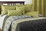 Laurel 5-piece reversible Duvet Cover Set, King, link, damask, grey, onyx, neon yellow