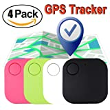 Xenzy 4 Pack Smart GPS Tracker Wireless Bluetooth Key Finder Mini Item Locator Key Anti Lost Alarm for Keychain Pet Dog Cat Wallet Chip Phone Luggage Finder Device Selfie Remote Shutter Prime (Color: white black green pink, Tamaño: 4 Pack)