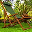 Folding garden chair beach deck chair furniture sun lounger tropical acacia wood green