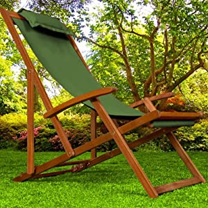 chaise camping plage pliante en bois tissu assise verte coussin amovible jardin. Black Bedroom Furniture Sets. Home Design Ideas
