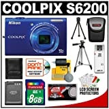 Nikon Coolpix S6200 Digital Camera (Blue) with 8GB Card + Battery + Tripod + Case + Accessory Kit