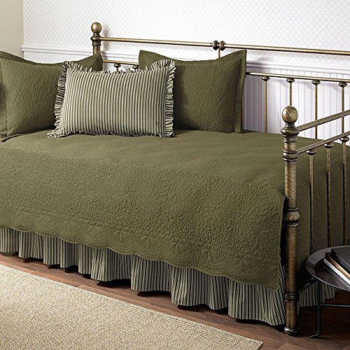 Trellis Aloe Green 5-piece Cotton Daybed Set with Intricate Stitching Details