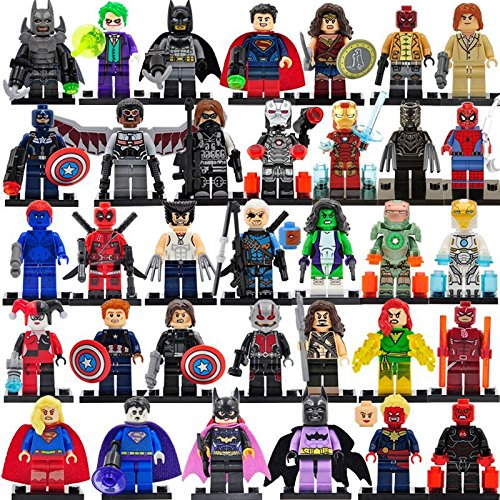 [DCHeroes Minifigures With Gun&Sword SuperHeroes DIY Building Blocks Brinks 34 Pcs/Set Size 4.5-5cm. Pack Sealed] (Lego Marvel Superheroes All Spiderman Costumes)
