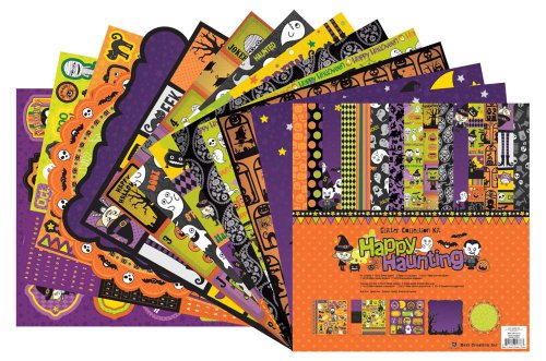 Best Creation 12 by 12-Inch 11 Page Glitter Collection Kit with Stickers and Chipboard, Happy Haunting