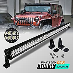 See Wayli 300W 20000LM Led Off Road Light Bar Flood Combo Combo Beam- 100pcs*3w high intensity LEDS Details