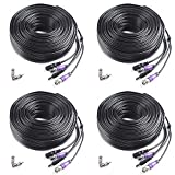 Masione 4 Pack 100ft HD Video Power Security Camera Cable with BNC RCA Connectors Pre-made All-in-One Extension Wire Cord for 1080P 960H & HD-CVI 960P CCTV Surveillance Camera DVR System (Tamaño: 4 Pack)